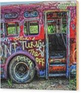 Graffiti Bus Wood Print