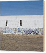 Graffiti On Abandoned Equipment Shed Wood Print by Paul Edmondson