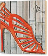 Graffiti Orange Cage Stilettos Wood Print