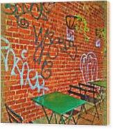 Grafitti Dining Wood Print by Joan  Minchak