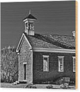 Grafton Schoolhouse - Bw Wood Print