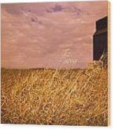 Grain Elevator And Crop Wood Print