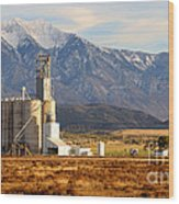 Grain Silo Below Wasatch Range - Utah Wood Print