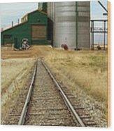 Grain Silos And Railway Track Wood Print