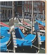 Grand Canal Gondolas Painting Wood Print