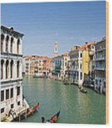 Grand Canal With Gondola  Venice Wood Print