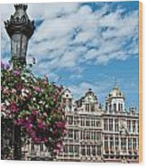 Grand Place Flowers Wood Print