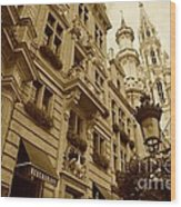 Grand Place Perspective Wood Print