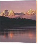 Grand Teton Mountains With Silhouetted Wood Print