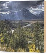 Grand Teton National Park And Snake River Wood Print