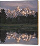 Grand Teton Range And Cloudy Sky Wood Print