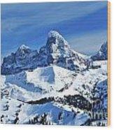 Grand Teton Winter Wood Print