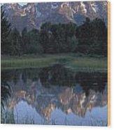 Grand Tetons From Schwabacher Landing Wood Print
