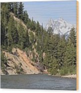 Grand Tetons From Snake River Wood Print