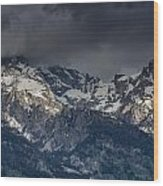 Grand Tetons Immersed In Clouds Wood Print