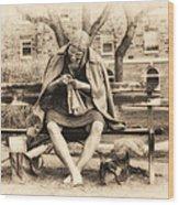 Granny Sitting On A Bench Knitting Ursinus College Wood Print