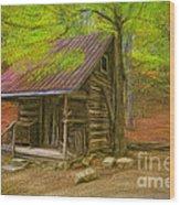 Granny's Little Cabin Wood Print