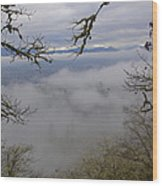 Grants Pass In The Fog Wood Print