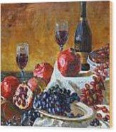 Grapes And Pomgranates Wood Print
