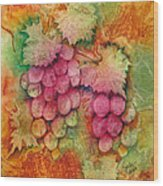 Grapes With Rust Background Wood Print
