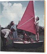 Grass Boat Wood Print