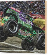 Grave Digger At Ford Field Detroit Mi Wood Print