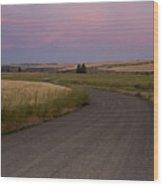 Gravel Road Dawn In Eastern Wa Wood Print