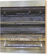 Greasy Electric Stove Oven Door Open Wood Print by Douglas Orton