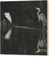 Great Blue Heron And Great Egret At Day's End Wood Print