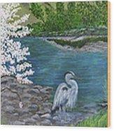 Great Blue Heron Wood Print by Judy M Watts-Rohanna