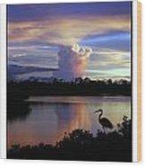 Great Blue Heron Sunset Wood Print