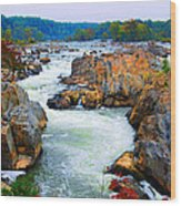 Great Falls On The Potomac River In Virginia Wood Print