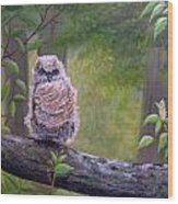 Great Horned Owlette Wood Print