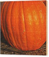 Great Orange Pumpkin Wood Print