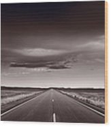 Great Plains Road Trip Bw Wood Print