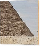 Great Pyramid Of Khufu Cheops And Camel Wood Print