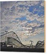 Great White Roller Coaster - Adventure Pier Wildwood Nj At Sunrise Wood Print