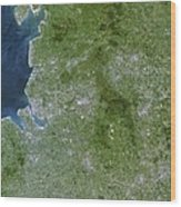 Greater Manchester, Satellite Image Wood Print by Planetobserver