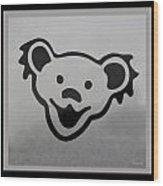 Greatful Dead Dancing Bear In Black And White Wood Print