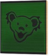 Greatful Dead Dancing Bear In Green Wood Print