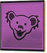 Greatful Dead Dancing Bear In Pink Wood Print