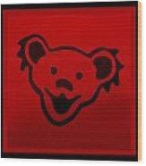 Greatful Dead Dancing Bear In Red Wood Print