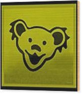 Greatful Dead Dancing Bear In Yellow Wood Print