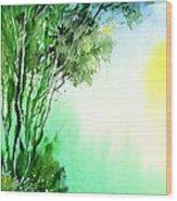 Green 1 Wood Print