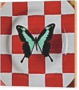 Green And Black Butterfly On Red Checker Plate Wood Print