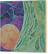 Green And Blue Tree Trunk With Orange Full Moon Wood Print