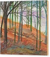 Green And Blue Trees Wood Print