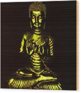 Green And Gold Buddha Wood Print
