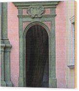 Green And Pink Doorway In Krakow Poland Wood Print