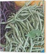 Green And Purple Beans Wood Print